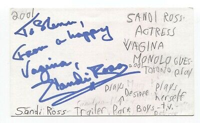 Sandi Ross Signed 3x5 Index Card Autographed Signature Trailer Park Boys - $36.00