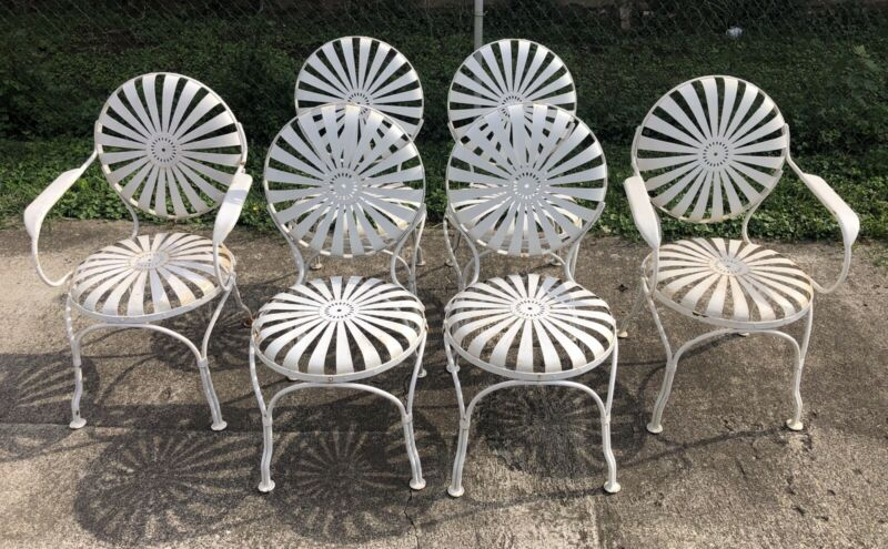 Antique Vintage Francois Carre Garden Chairs Set Of 6