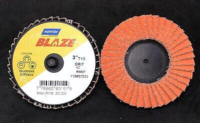 """10//Pk Norton Blaze R980P 7/""""x7//8/"""" 80 Grit T27 Quick Trim Flap Disc 66254461061"""