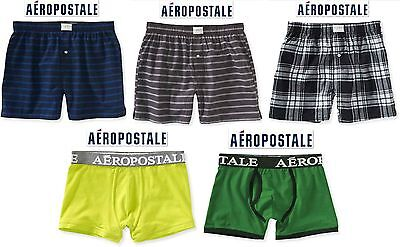 NWT Sz XS & S Aeropostale Men Striped,Plaid,Solid Waist Band Woven Boxers Briefs Solid Woven Boxer