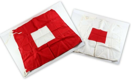 Vintage Pair of Red White Semaphore Signal Boy Scouts of America BSA Square Flag