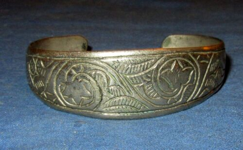 "Bracelet Vintage Cuff Afghan Kuchi Tribal Alpaca Silver 1"" tall 2.25"" dia"