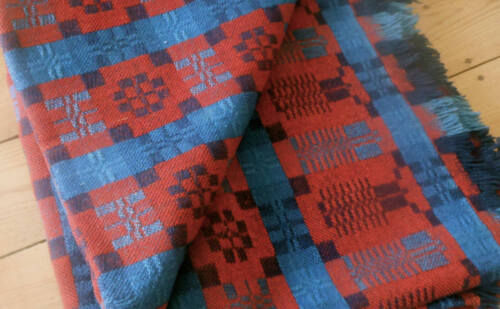 Antique 19thc Loom Woven Coverlet Blanket ~ Americana Indigo Soldier Blue Red