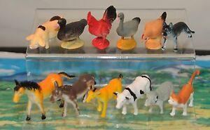12 plastic farm animals +mat. Cow cat hen pig horse duck sheep etc FREE POST O37