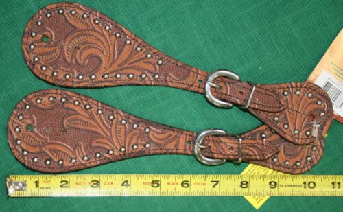 NEW Tough 1 Adult Leather Spur Straps with Tool Print and Steel Dots