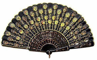 Chinese Silk Gold Bead Embroidered Folding Wedding Party Hand Fan