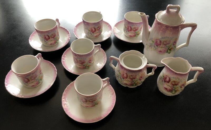 Antique 15pc Chocolate / Cocoa Set - Roses Decoration-Transfer ware