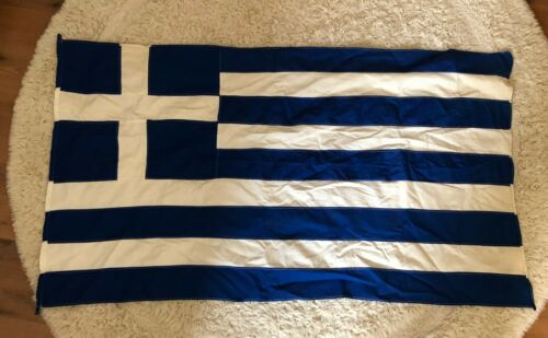 VINTAGE GREECE GREEK FLAG 74 cms height x 130 cms long