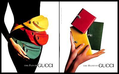 1990 Gucci Waist Bags Handbags Vintage PRINT AD Colorful Luxury Fashion 1990s