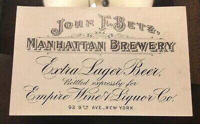 Pre Pro John F Betz Manhattan NY Brewery Beer Bottle Label Advertising NYC