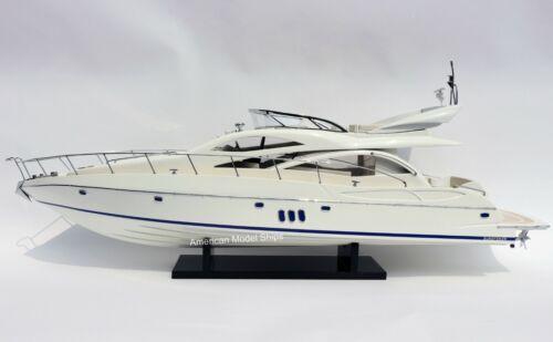 """Sunseeker Manhattan 60 Model Yacht 37"""" Handcrafted Wooden Ship Model NEW"""