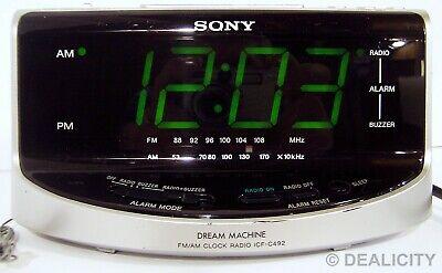 SONY Dream Machine Large Display Clock AM/FM Radio Dual Alarm ICF-C492 TESTED