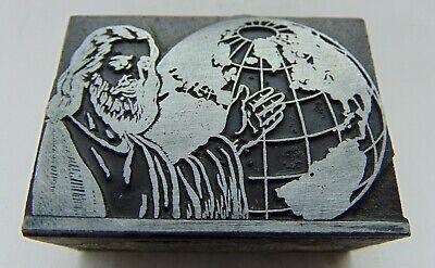 Printing Letterpress Printers Block Jesus And A Globe