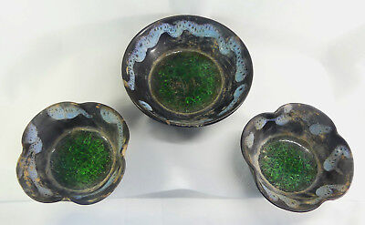 Set Of 3 Chinese Song Dyn  Buddhist Offering Bowls W Glass Insert Of Green Lotus