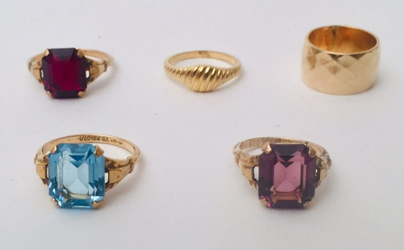 Five VINTAGE CLARK COMBS MH 10K GOLD FILLED WOMEN'S Glass RING Mixed SIZES More