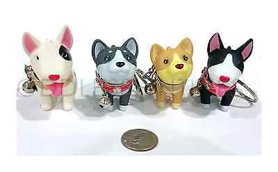Cute Canine Puppy Dog Husky Terrier Key Chain Ring Toy Figurine With Collar