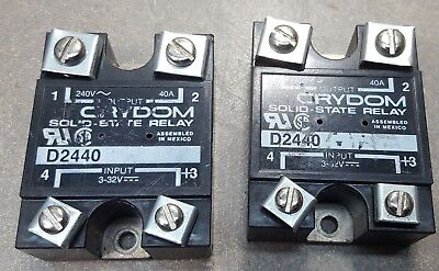 Lot Of 2 Crydom D2440 Solid State Relay Output 240volt 40amp Input 3-32volt.