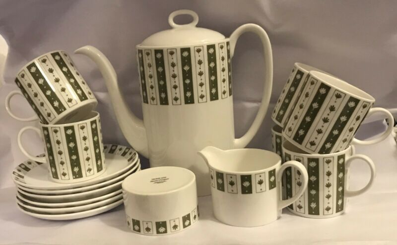 "Susie Cooper Wedgewood "" Neptune "" C2105 Mid-Century Coffee Set 15 Pieces"