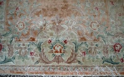 GENUINE HAND WOVEN ORIENTAL RUG FRENCH AUBUSSON MANMADE SILK 5' X 8' NEEDS CLEAN