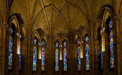 "Stained Glass Church Abbey Classic Medieval Architecture-17""x22"" Art Print-00009"