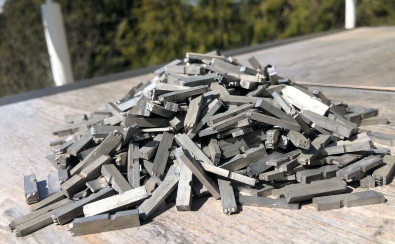 Lot Vintage Antique Lead Printing Press Typeset Letters Letter Metal Blocks Goth
