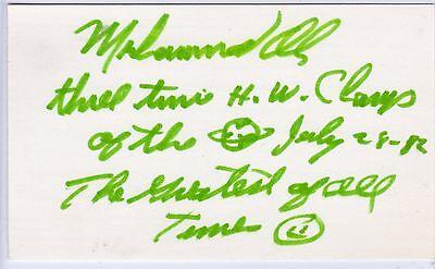 MUHAMMAD ALI SIGNED AUTOGRAPHED INDEX CARD TRUE 1/1 JSA COA PSA