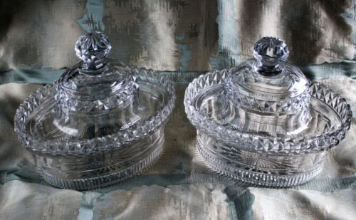 Pair of Regency Anglo-Irish Cut Crystal Lidded Butter Coolers c. 1815