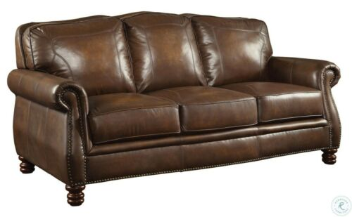 OPULENT HAND RUBBED BROWN ALL LEATHER SOFA LIVING ROOM FURNITURE