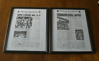 4 Steelers Superbowl Champions Framed 11X14 Post Gazette Newspapers Prints
