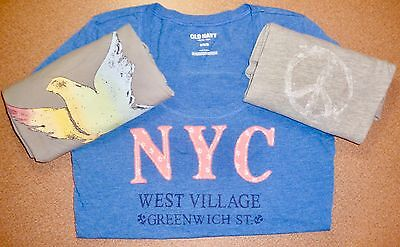 GAP Old Navy LOT of 3 Gray Silver Pink Blue Bird 1969 NYC Peace T-shirts Tops M