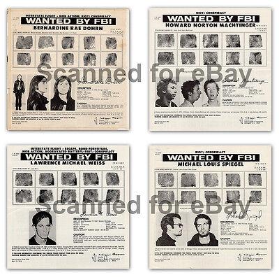 4 Original 1970 Weather Underground FBI Wanted Posters Bombing Militant Radicals