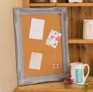 Grey Ornate Framed Pin Board Memo Organizer Kitchen Cork Board