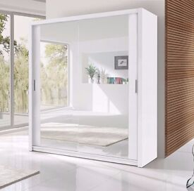 WHITE 120CM 2 DOOR SLIDING WARDROBE WITH FULLY MIRRORED AVAILABLE IN WHITE/BLACK COLOUR
