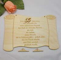 Felicitación Para Cumpleaños Grabado Sobre Una Senal , Regalo Geb Número 65 -  - ebay.es