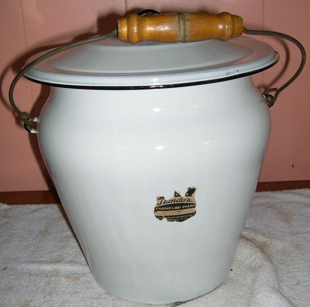 Vintage Standard White Porcelain Enamel Ware Wood Handled Chamber Pot W/ Lid - $39.99