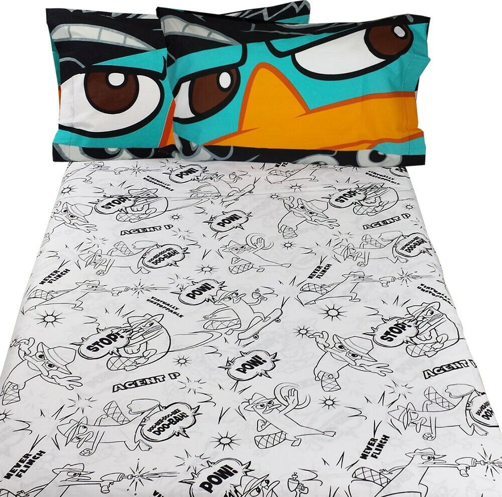 4pc AGENT P FULL BED SHEET SET - Disney Phineas Ferb Perry P