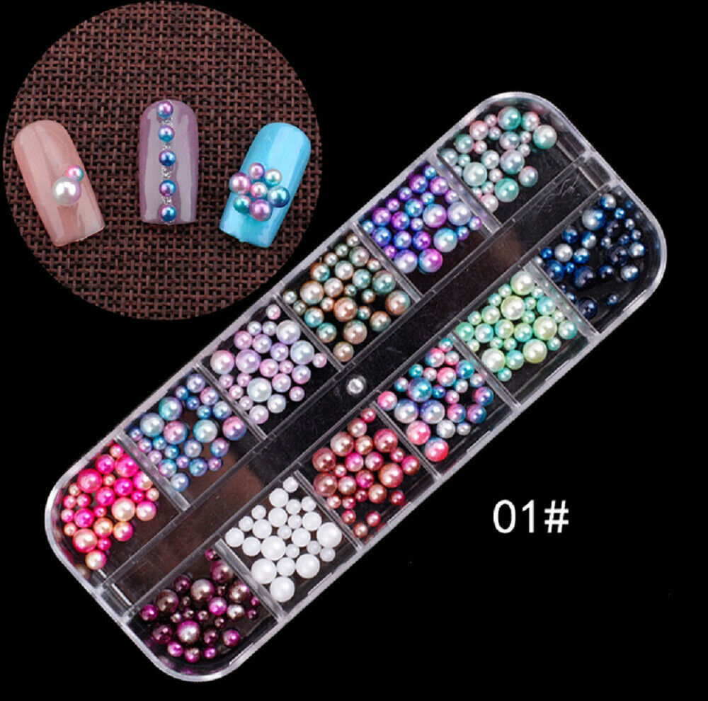 3D Nail Decoration in 12 Grid Rhinestones Studs Acrylic Tips Nail Art Designs US 3D Nail Art Design