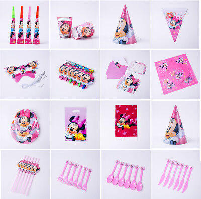 Minnie Mouse Kinder geburtstag Party Gedeckter Tisch Hüte Masken Teller Becher