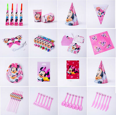 Minnie Mouse Kids Birthday Party Tableware Decor Hats Mask Plates Straws Blowout - Party Straw Hats