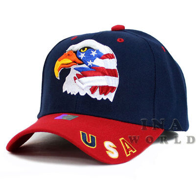 USA American Flag hat Stars and Stripes EAGLE Embroidered Baseball cap- Navy/Red