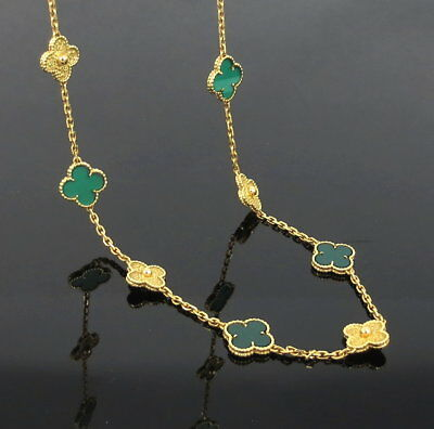 Estate Van Cleef & Arpels VCA Alhambra Chrysoprase Long Necklace for sale  Shipping to Canada