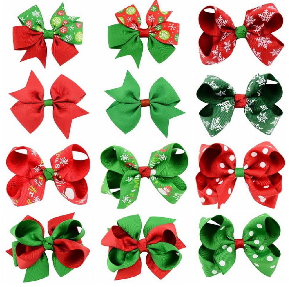 12 Pcs Girl Christmas Holiday Gift Snowflake Ribbon Hair Bows Clip Girl Hairpin Baby