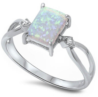 BEST SELLER! White Australian Opal & CZ .925 Sterling Silver Ring Size 4-12