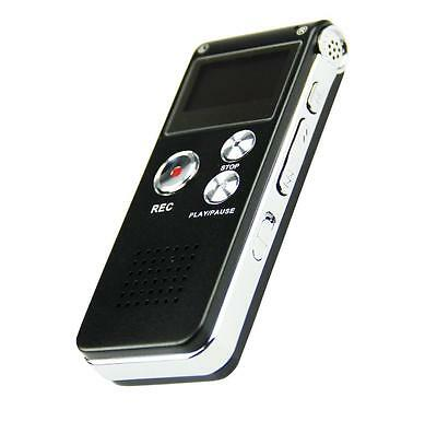 Black Rechargeable 8GB 650Hr Digital Audio Voice Recorder Dictaphone MP3 Player