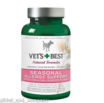 VET'S BEST SEASONAL ALLERGY SUPPORT for DOGS 60 Chewable Tablets Nettle Citrus