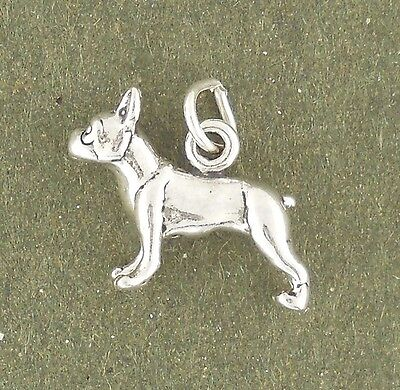 Boston Terrier Dog Charm Sterling Silver Pendant Animal Pet Puppy