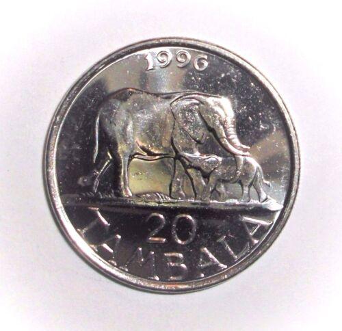 1996 Malawi 20 tambala, Elephant with calf, animal wildlife coin