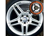 """18"""" Genuine AMG Mercedes C Class alloys staggered fitment with tyres."""