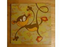 Set of 3 Children's Safari/Jungle Animal Canvas Prints Monkey, Giraffe, Crocodile/Alligator