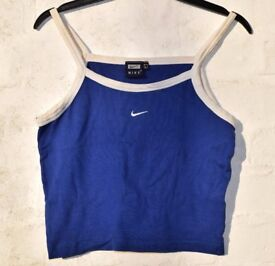 """Nike Large Ladies Royal Blue with White Sports Strappy Gym Crop Top C31"""""""